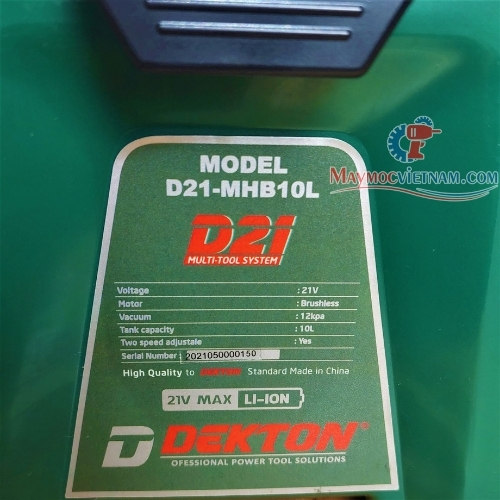 Máy Hút Bụi Dùng Pin Dekton D21-MHB10L