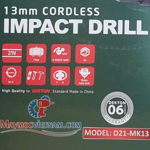 Máy Khoan Búa Pin Dekton D21-MK13 13mm